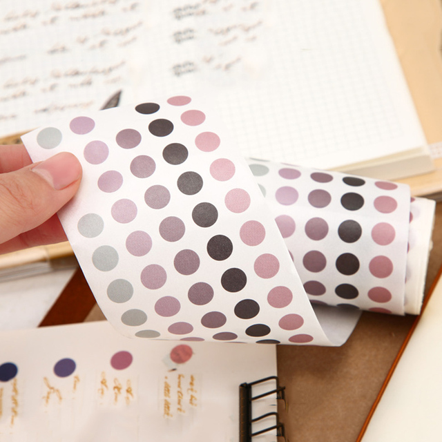 School Office Supply Colorful Dots Masking Tapes List Journal Student Notebook Stickers Kids DIY Decorative Diary Scrapbooking 5