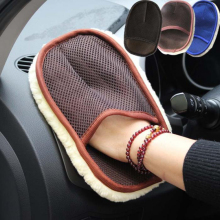 3 colors Car Styling Wool Soft Washing Gloves Cleaning Brush Motorcycle Washer Care With packaging