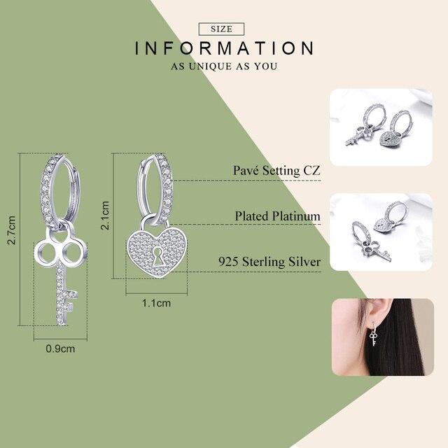 BAMOER 925 Sterling Silver Love Heart Shape Key Lock Drop Earrings 1