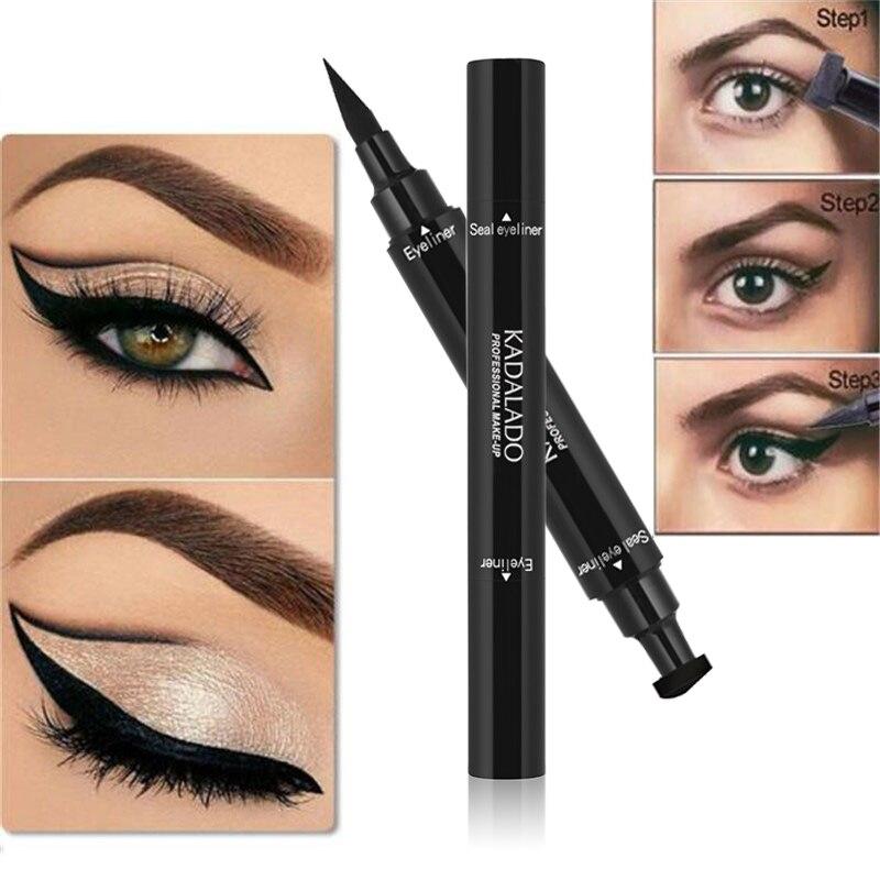 a1f676fe9e70 US $1.75 35% OFF Kadaldo Double Head Liquid Eyeliner Stamp Waterproof Black  Matte Gel Eyeliner Eyes Pencil Make Up Beauty Makeup Cosmetics-in Eye ...