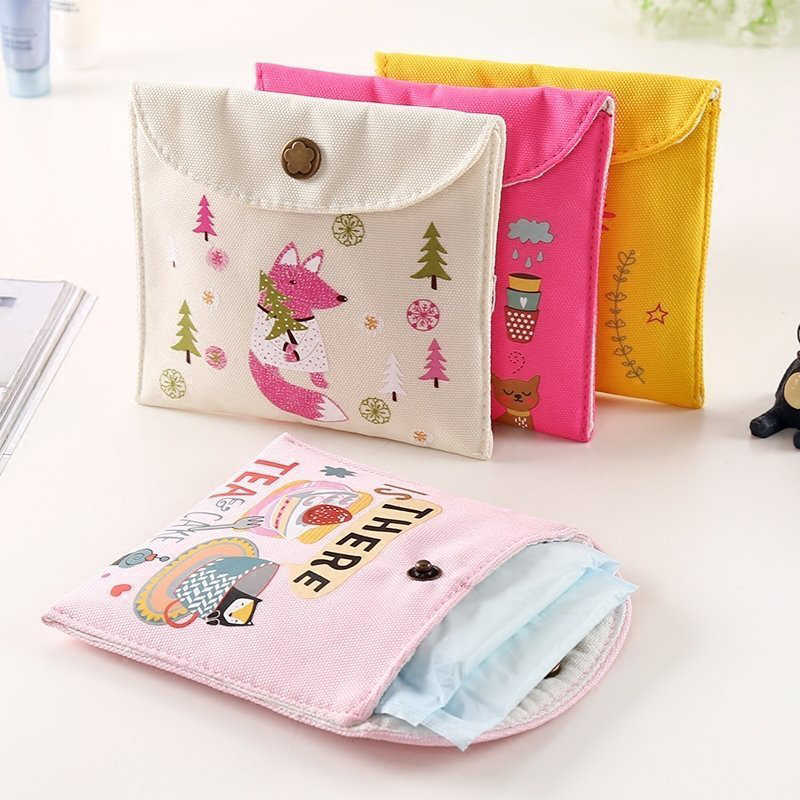 2019 Girls Diaper Sanitary Napkin Storage Bag Canvas Sanitary Pads Package Bags Coin Jewelry Organizer Credit Card Pouch Case