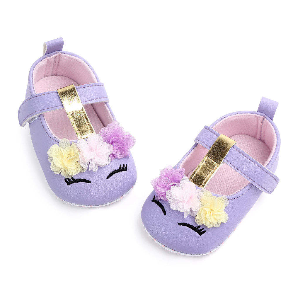 2019 Brand New Toddler Baby Girls Flower Unicorn Shoes PU Leather Shoes Soft Sole Crib Shoes Spring Autumn First walkers 0-18M 2