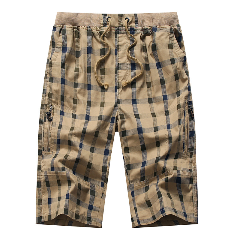 Long Shorts Men Plaid Capris Cotton Summer 3/4 Length Trousers Back Zipper Pocket Bermuda Male Vogue Elastic Waist Breeches Men