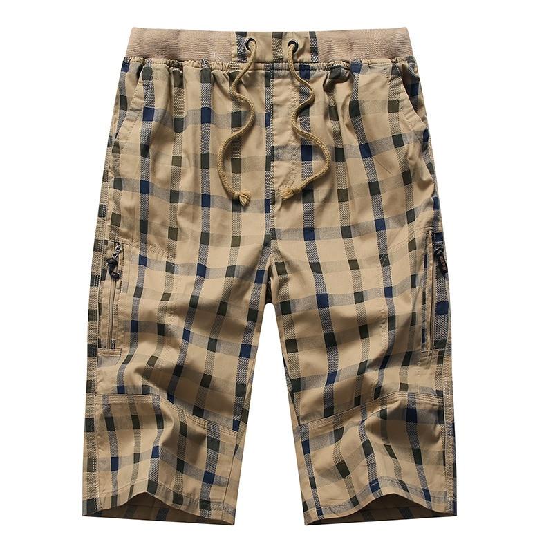Long Shorts Men Plaid Capris Cotton Summer 3/4 Length Trousers Back Zipper Pocket Bermuda Male Vogue Elastic Waist Breeches Men