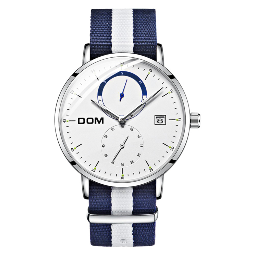 Dom Watch Luxury Multi-Function Men'S Sports Quartz Waterproof Nylon Strap Business Watch