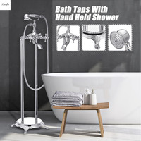 Chrome Brass Standing Floor Mounted Clawfoot Bathtub Shower Faucets Mixer Tap Set Luxury Bathroom Dual Handle Handshower Set