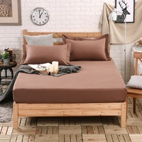 1pcs 100%Cotton Solid Fitted Sheet Mattress Cover Four Corners With Elastic Band Bed Sheet