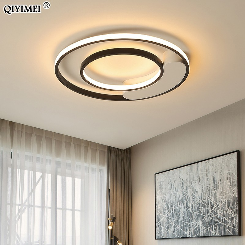 White Black Round LED Chandeliers Lamps for living room bedroom one chassis remote control Internal and external bright LampsWhite Black Round LED Chandeliers Lamps for living room bedroom one chassis remote control Internal and external bright Lamps