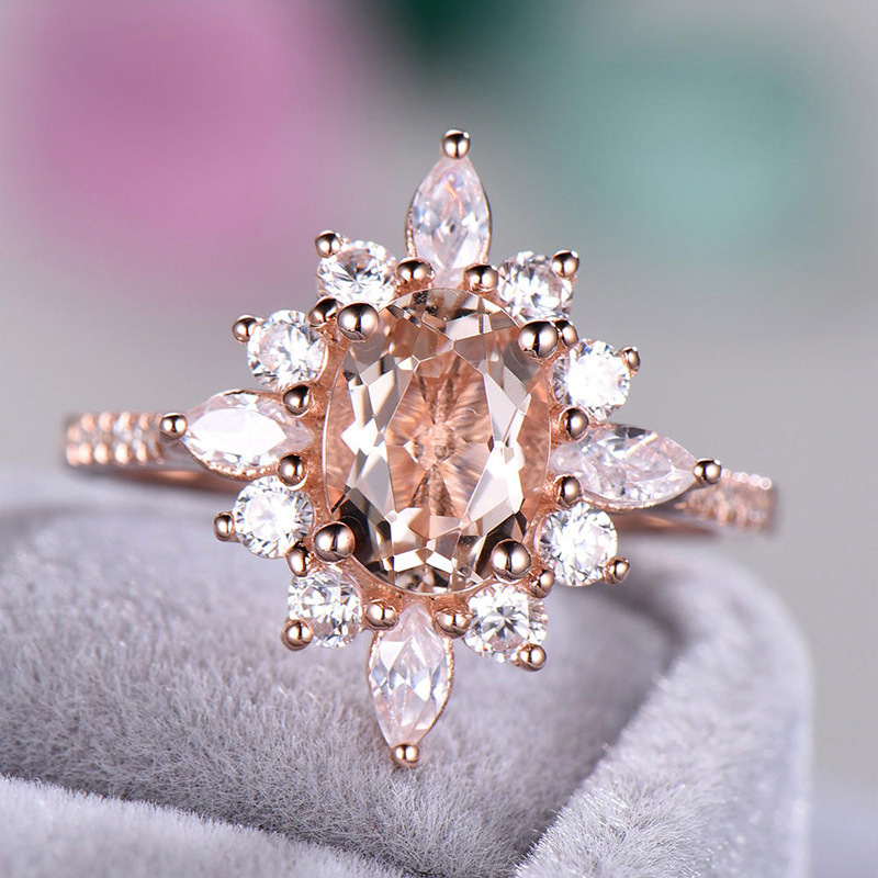 Ring silver 925 jewellery The king of the ring gives a gift to a woman Diamond snowflake copper plated rose gold ringen B2485 in Rings from Jewelry Accessories