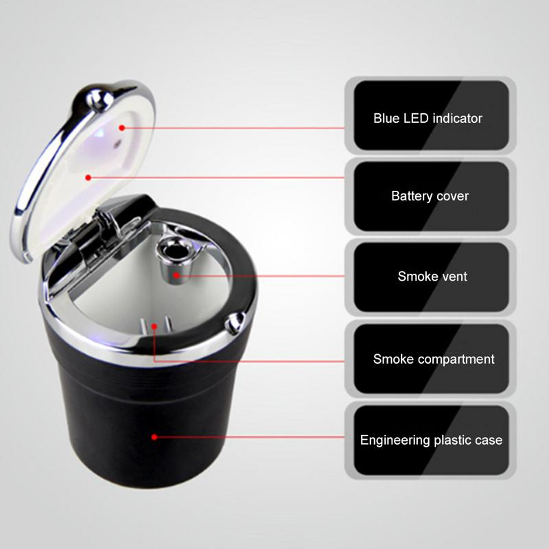 Image 5 - Car Cigarette Ashtray With Blue LED Light Indicator Portable Bling Smokeless Cylinder Cup Holder For Most Vehicles-in Car Ashtray from Automobiles & Motorcycles