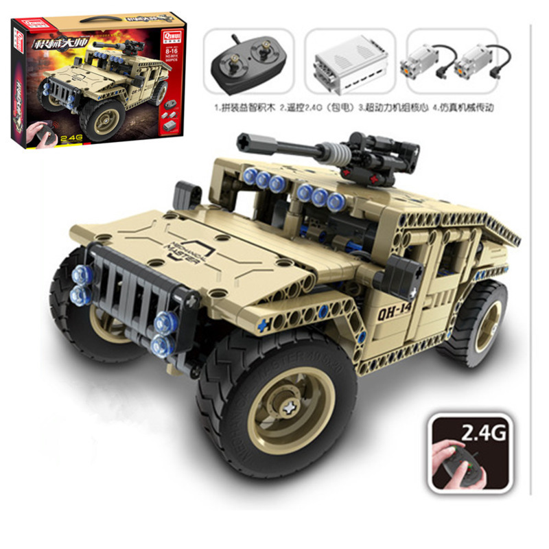 502pcs Technic Military Remote Control RC Armed Vehicle Car Technic Military City Building Blocks Brick DIY