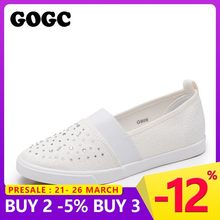 0a4985b11 Sapatas de Lona 2019 moda Deslizamento GOGC Mulheres Calçado Feminino  Conforto Deslizamento Sapatas Das Mulheres Calçados
