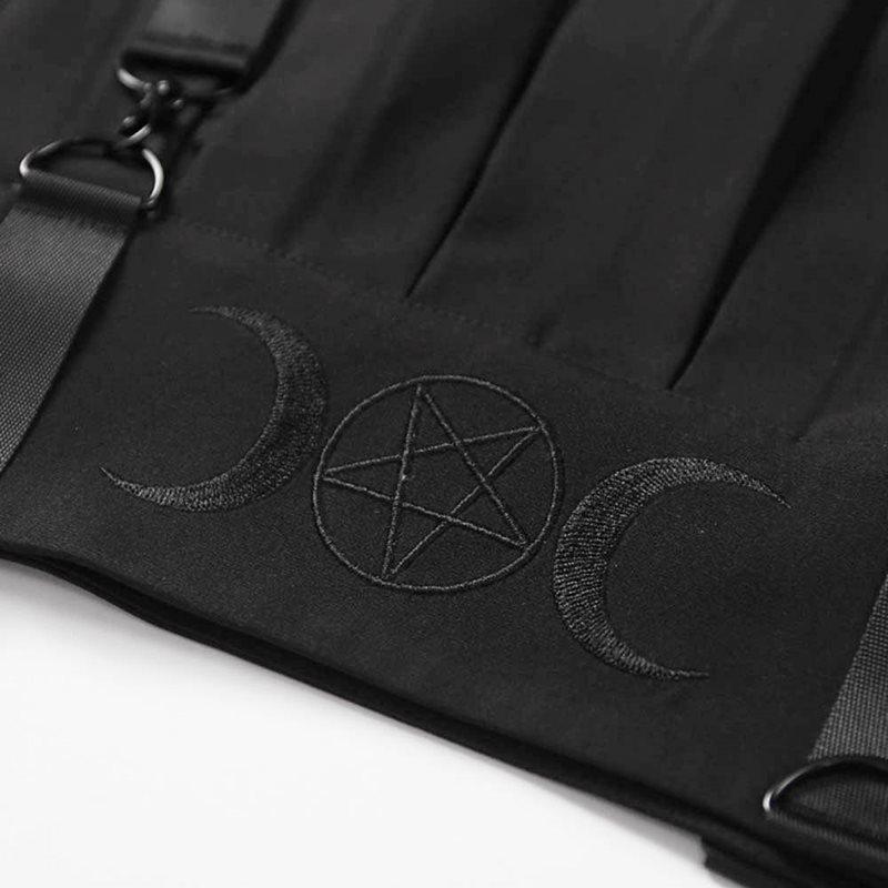 De Cintura Goth Faldas Pentagrama Suspender Streetwear Moda Mujeres La Luna Chica Bordados Negro Falda Las Verano Alta Mini Escuela BxxvUwR7qE