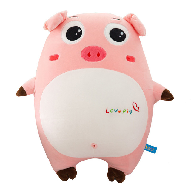 50cm Cartoon Pink Plush Pig Pillow Cushion Expression Doll Baby Cute