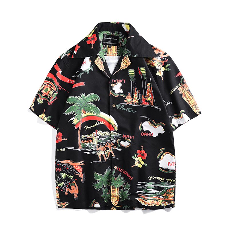 Men's Hawaiian Shirt 2019 Summer Hawaiian Printed Short Sleeve Shirt Holiday Casual Loose Large Size Shirt Camisas Hombre