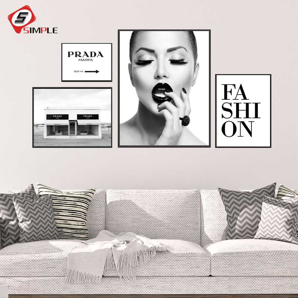 Vogue Black White Girl Fashion Canvas Painting Poster and Prints Perfume Quote Text Wall Art Pictures for Living Room Decoration