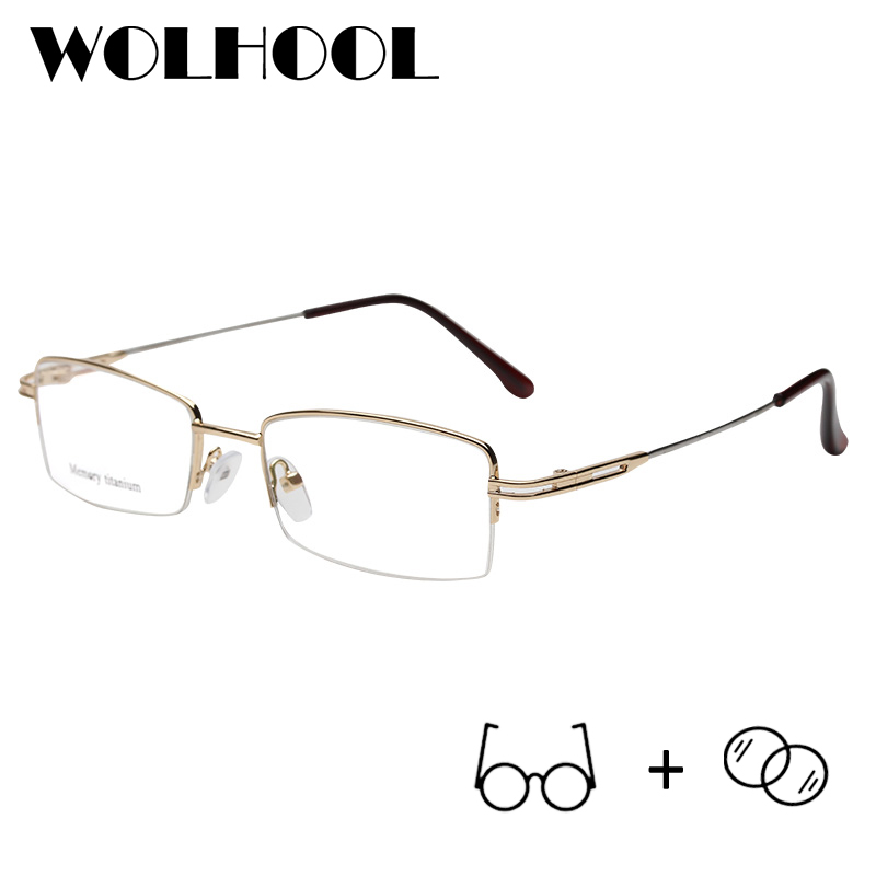 Business Memory Titanium Glasses Men Spectacles Eyeglasses Gentlemen Rectangle Myopia Glasses Optical Prescription Glasses(China)