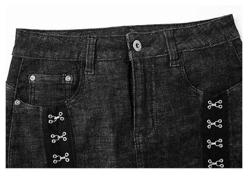 LOGAMI High Waist Rivet Wrap Skirt Woman Mini Denim Skirts Womens Slim Skirt Black Blue