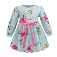 2019 New Chinese Style Children's Dress Flower Pattern Small Fresh Printing Dress Long Sleeve O-Neck Girls For Dress 3-7 Yea Old