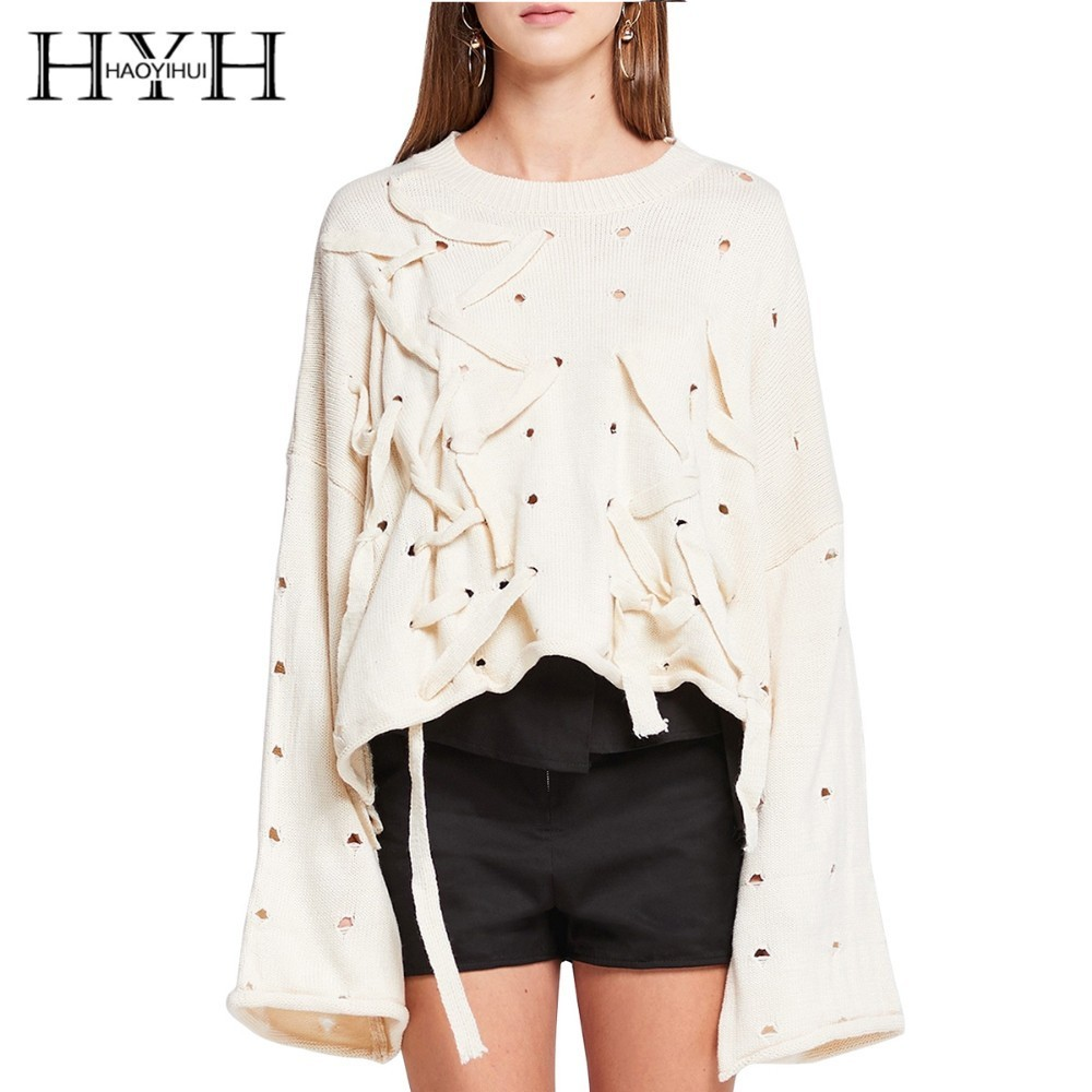 HYH HAOYIHUI Fashion Simplicity Hole Hollowing Out Frenulum Easy Knitting Sweater Black White Long Sleeve Tops in Pullovers from Women 39 s Clothing