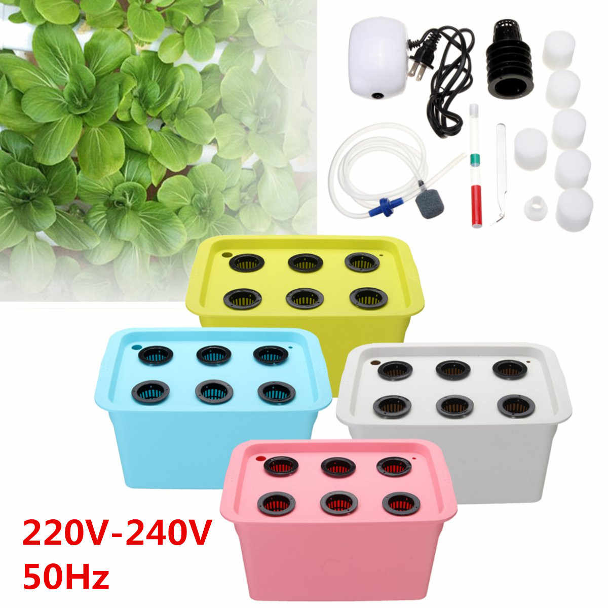 220V Hydroponic System Kit 6 Holes DWC Aerobic Soilless Cultivation Indoor  Water Planting Grow Box
