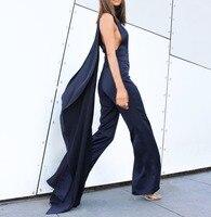 New Celebrity White Ble Sleeveless Fashion Jumpsuit Evening Party Jumpsuit