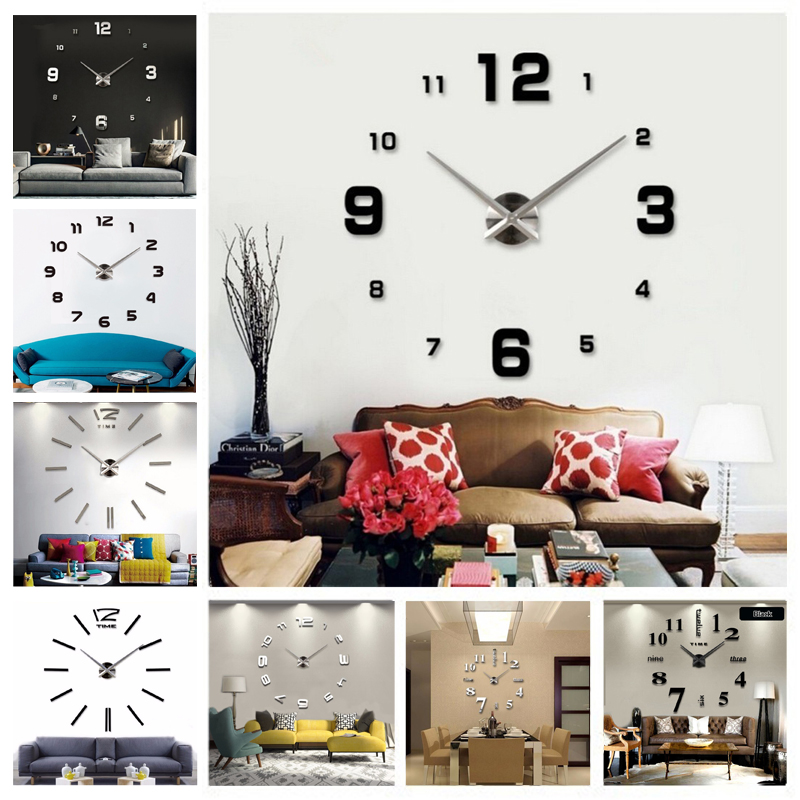New DIY 3d Home Decoration Wall Clock Big Mirror Wall