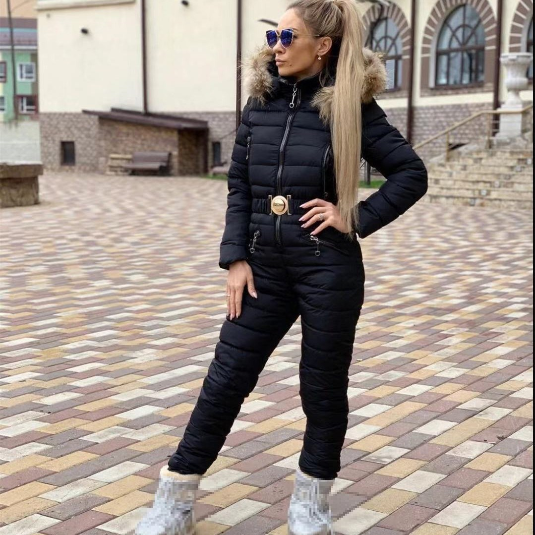 2018 New Winter Hooded Parka Jumpsuits Straight Elegant Padded Warm Thick Sash Casual Jumpsuits Zipper Fur Collar Solid Jumpsuit