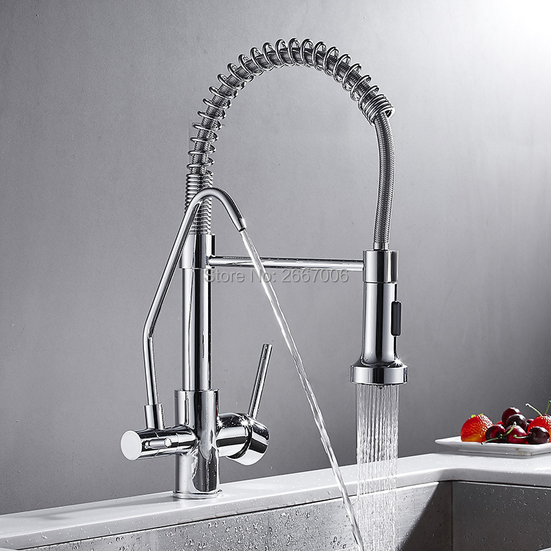 GIZERO Chrome Spring Pull Down Kitchen Faucet Filter Drinking Water Kitchen Mixer Craned Water Purification Features Tap GI2120 carimali filter spring