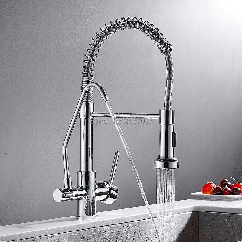 GIZERO Chrome printemps tirer vers le bas cuisine robinet filtre eau potable cuisine mélangeur Craned Purification de l'eau caractéristiques robinet GI2120
