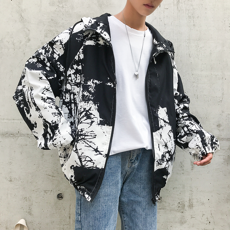 Men's New Pattern Sunscreen Clothes Outerwear Printing Hat Streetwear Brand Bomber Jacket Male Loose Coats top Big Size Sale
