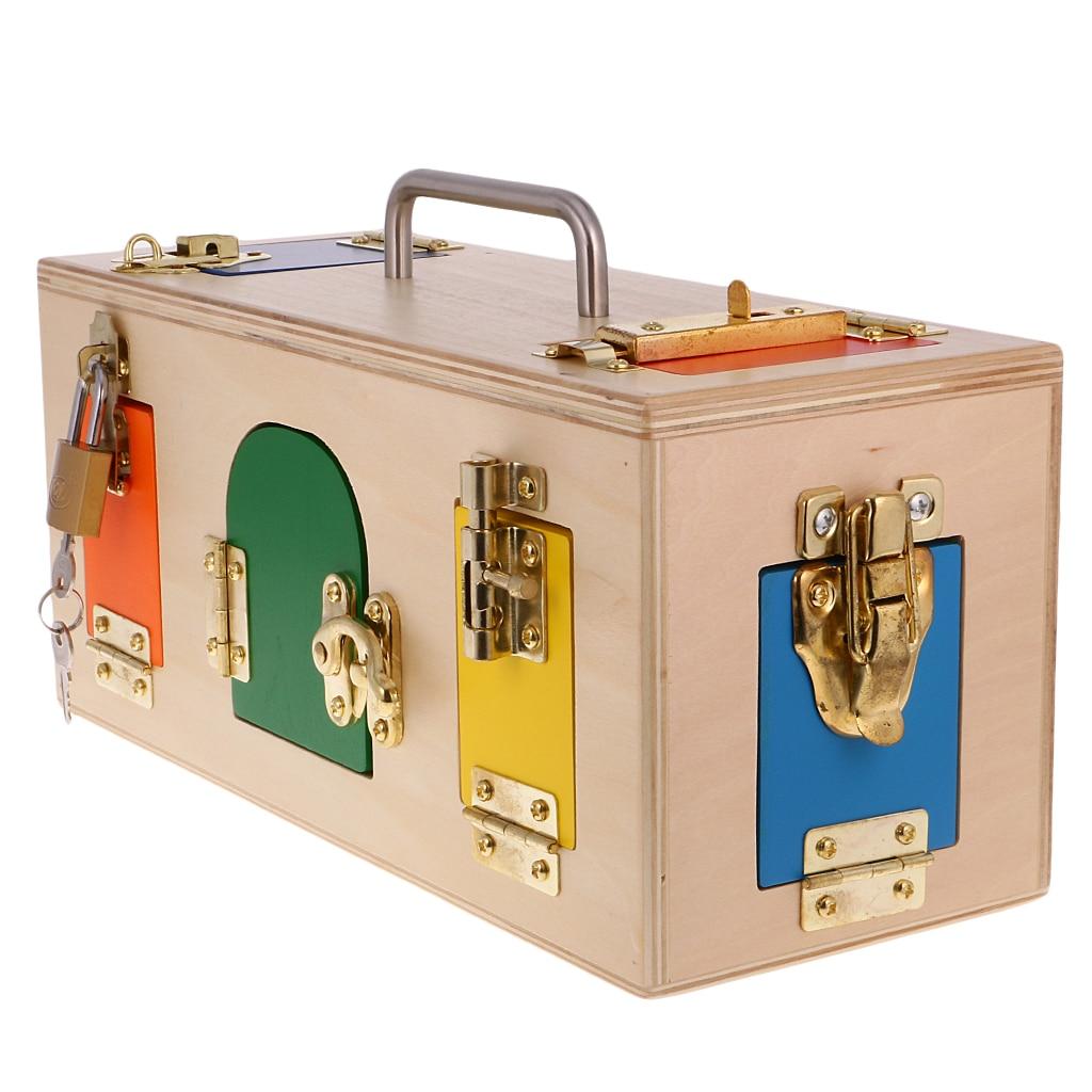 Montessori boîte de verrouillage en bois avec portes et loquets garçons filles jeu de mémoire jouets