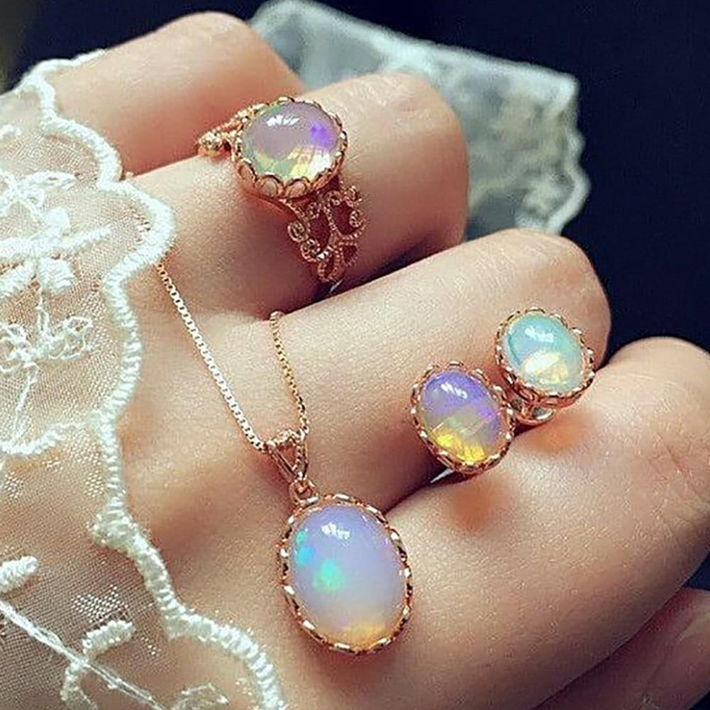 DreamBell 3 Pcs/set Women Luxury Opal Ring Stud Earrings Necklace Wedding Jewelry Set