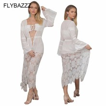 2019 Solid Swim Dress Cardigan New Beach Wear Women Cover Up Summer Bandage Swimsuit Sexy See-Through
