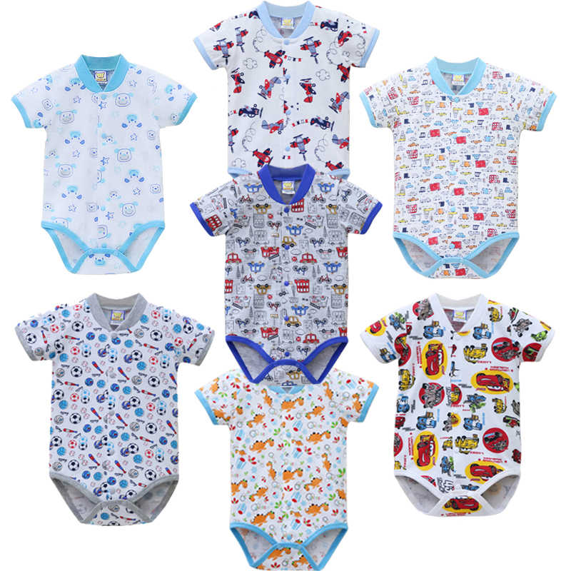 2019 Little Q Baby Pure Cotton One Piece Print Short Sleeve 7pcs/lot button Down Bodysuits Newborn Kids Clothing