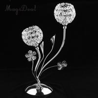 MagiDeal Exquitise Crystal Silver Candle Holder Tea Light Cup Bowl Candlestick Candelabra Bowl Tabletop Vase with Stand Base
