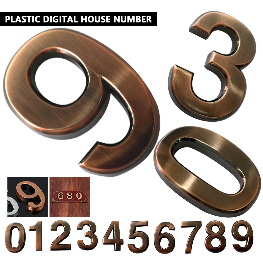 ABS Plastic Bronze Self- Adhesive 0-9 Door Numbers Customized House Address Sign