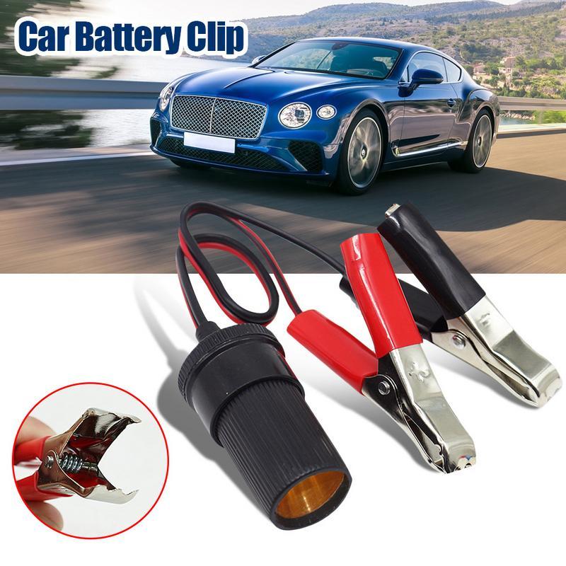 Car Battery Terminal Clip-On Cigarette Lighter Clamp 12V Volt Power Socket Adapter Plug To Car Boat Car USB Charger