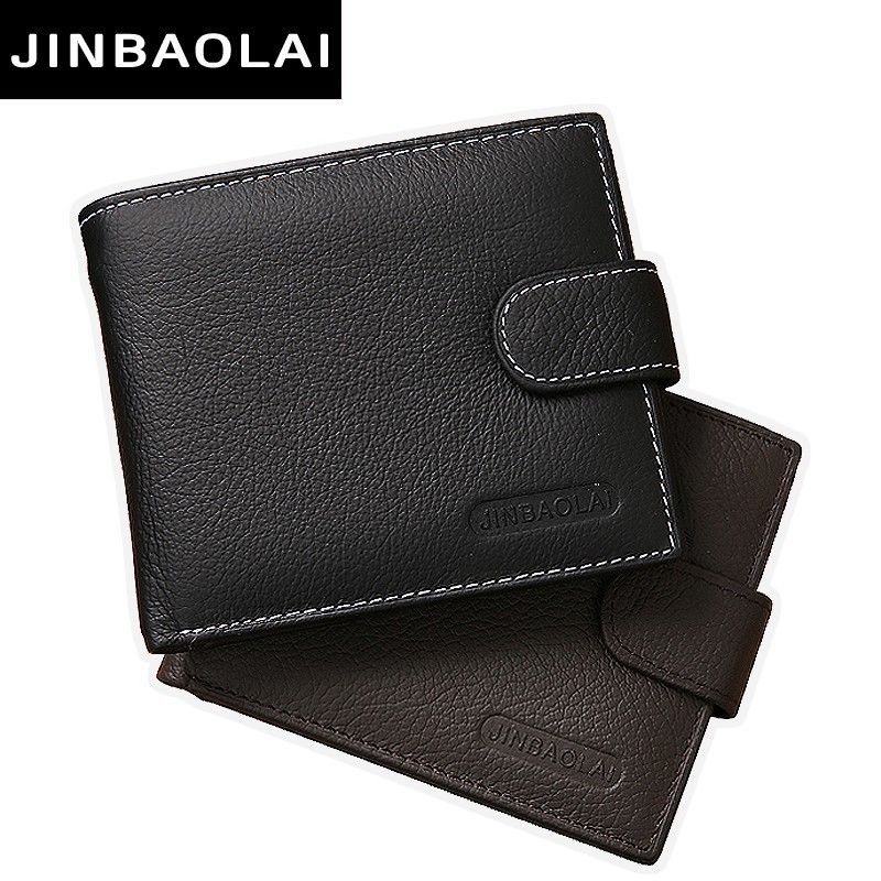 JINBAOLAI Genuine Leather Men Wallets Purse Money Bag Fashion Male Wallet Card Holder Coin Purse Wallet Men carteira Card Holder contact s thin genuine leather men wallet small casual wallets purse card holder coin mini bag top quality cow leather carteira
