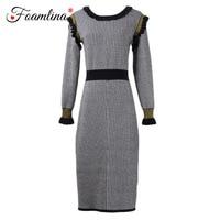 Foamlina Elegant Women Black White Striped Wool Blend Knitted Bodycon Dress O Neck Long Sleeve Ruched Work Office Pencil Dress