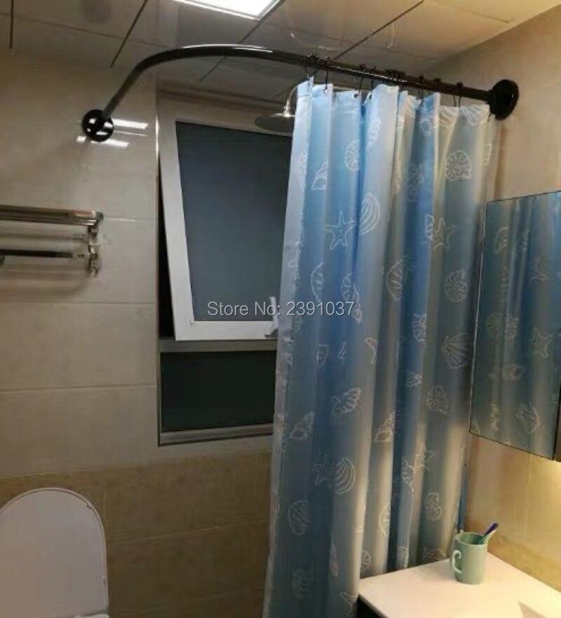 curved corner shower curtain rod l u