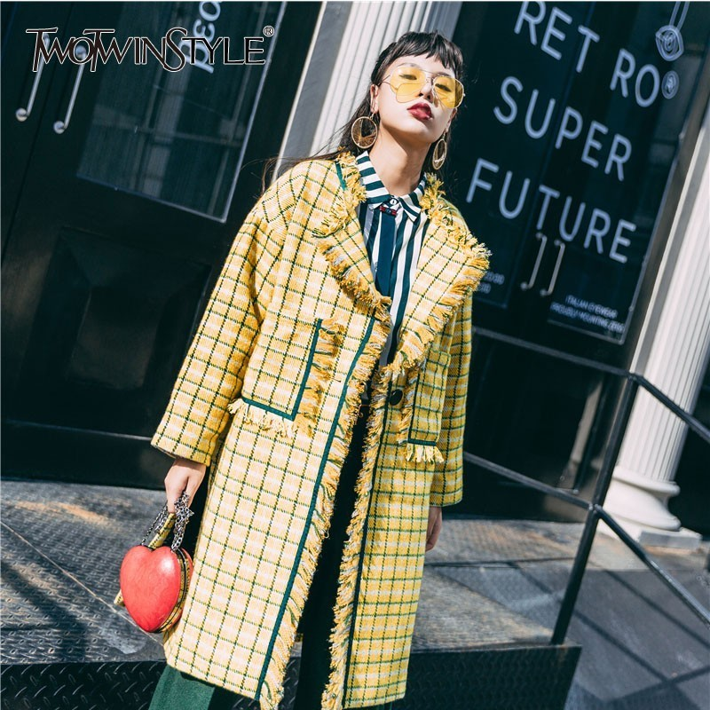 GALCAUR Plaid Tweed Coat Female Long Sleeve Single Button Patchwork Tassel Korean Plus Thick Women's Overcoat 2020 Autumn