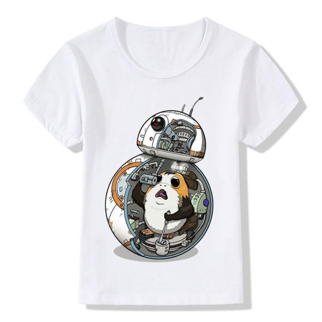 Fashion Pocket Porg Design Funny Children's T shirt Stars Wars Casual T shirt