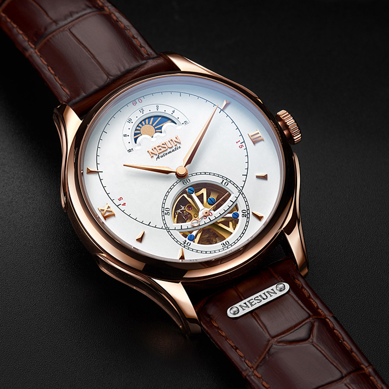 Luxury Brand NESUN Hollow Tourbillon Men Moon Phase Watch Business Automatic Mechanical Men's Wristwatches Waterproof Clock Male
