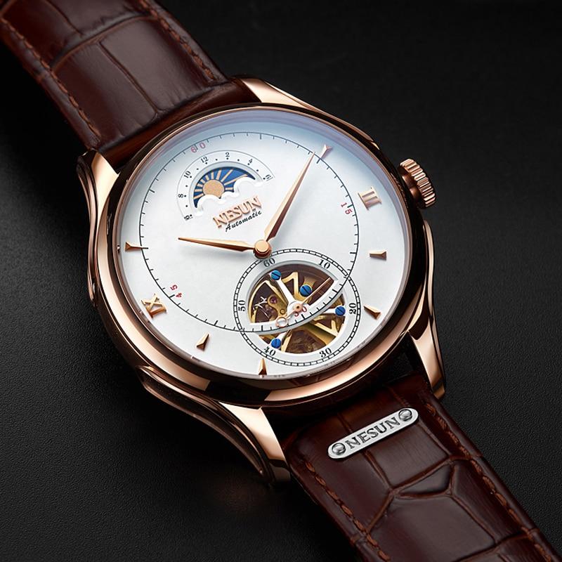 Marca de luxo Homens Fase Da Lua Turbilhão NESUN Oco Relógio Mecânico Automático Dos Homens de Negócios relógios de Pulso À Prova D' Água Relógio Masculino