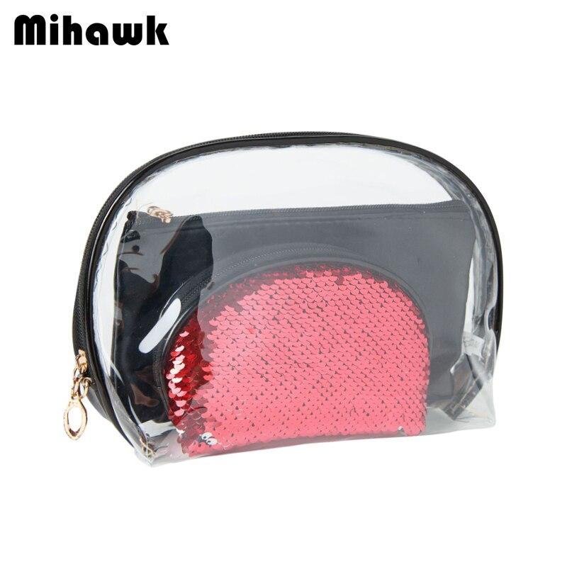 100% QualitäT Mihawk Transparent Kosmetik Tasche Pvc Machen Up Pouch Frauen Reise Schönheit Waschen Toiletry Make-up Lagerung Zip Tote Zubehör Liefert
