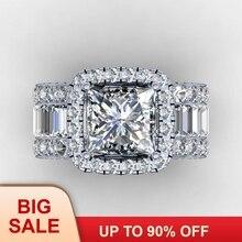 Винтажное кольцо округлой формы влюбленных 3ct AAAAA Cz камень стерлингового серебра 925 Обручальное кольцо для женщин и мужчин ювелирный подарок на палец