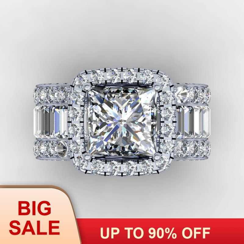 Vintage Lovers Court แหวน 3ct AAAAA หิน Cz 925 เงินสเตอร์ลิงแหวนหมั้นแหวนแต่งงานสำหรับผู้หญิงผู้ชายเครื่องประดับของขวัญ