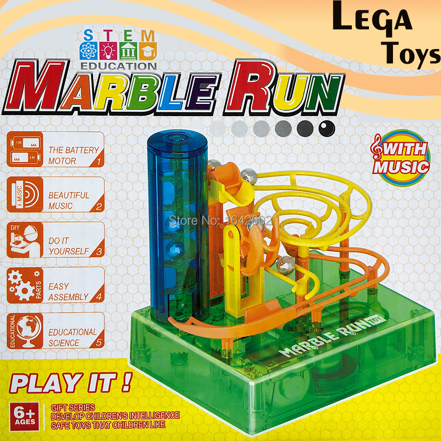 Construction 3D DIY Magic Marble Run Maze Ball Intellect Marble Desktop Game With Music,Education STEM Blocks Toys For Kids