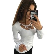 Women T shirt Long Sleeve Hollow Out Spaghetti Strap Slim Tops Tees Bandage Shirts Femme Blusas